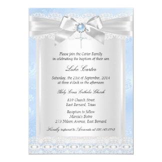 Blaue Spitze-Kreuz-Taufe-Taufe 12,7 X 17,8 Cm Einladungskarte