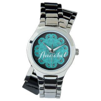 Blaue Spitze und Perlen mit Namensuhr Armbanduhr