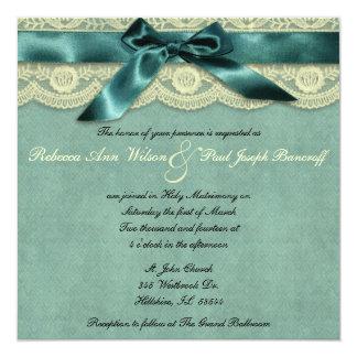 Blaue Spitze-Vintage Hochzeits-Einladung Quadratische 13,3 Cm Einladungskarte