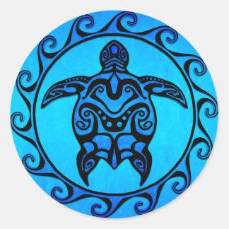 Blaue Stammes- Schildkröte Sun Runder Aufkleber