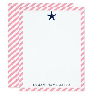 Blaue Starfish auf rosa Streifen danken Ihnen Karte