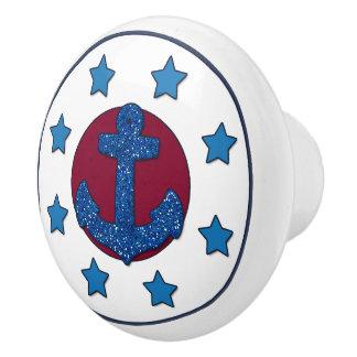 Blaue Sterne des Imitat-blaue Glitter-Anker-| Keramikknauf