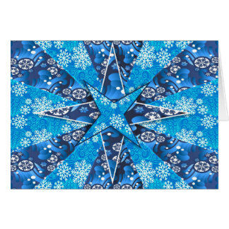 Blaue Sterne mit Schneeflocken auf Weihnachtskarte Karte