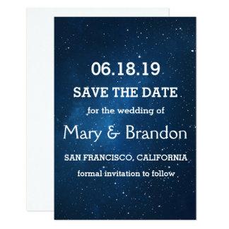 Blaue sternenklare Universum-Nebelfleck-Hochzeit Karte