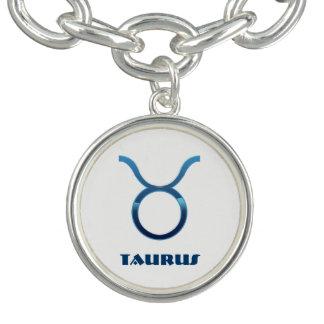 Blaue Stier-Tierkreis-Zeichen auf Weiß Armband