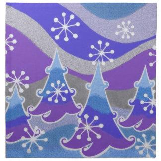 Blaue Stoffservietten der Winter-Bäume