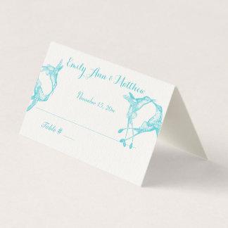 Blaue Strahlen-Kolibri-Hochzeits-Platzkarten Platzkarte