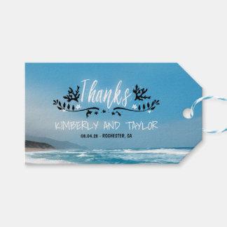Blaue Strand-Hochzeit danken Ihnen Geschenkanhänger