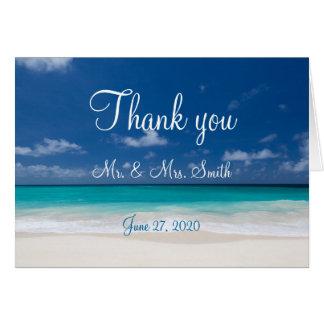 Blaue Strand-Hochzeit danken Ihnen Karten
