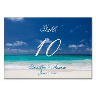 Blaue Strand-Hochzeits-Platzkarte-Tabellen-Karten Karte
