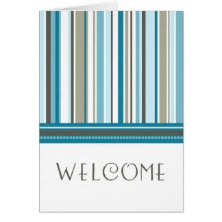 Blaue Streifen-Angestellt-Willkommen zur Mitteilungskarte