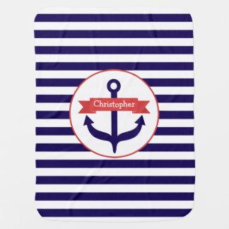 Blaue Streifen + Anker-personalisierte Baby-Decke