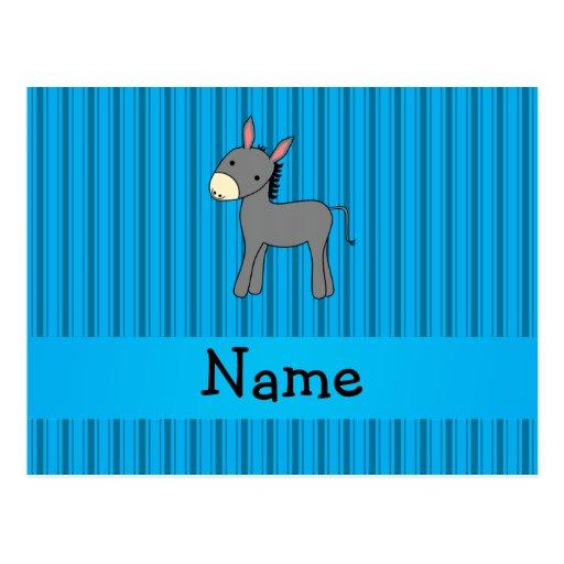Blaue Streifen des personalisierten Namensesels Postkarte