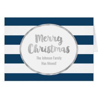 Blaue Streifen-Silber-frohe Weihnacht-neue Adresse Karte