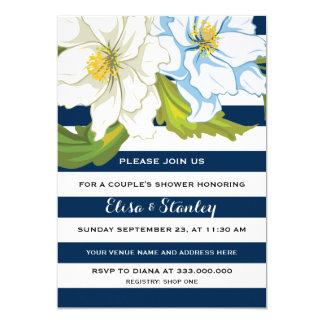 Blaue Streifen u. Blumen, die Paardusche wedding 12,7 X 17,8 Cm Einladungskarte