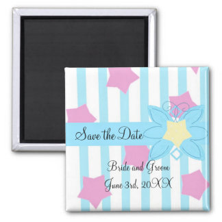 Blaue Streifen und rosa Sterne Save the Date Quadratischer Magnet