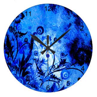 Blaue Strudel-Blumen Große Wanduhr