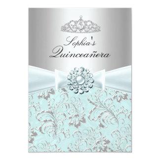 Blaue Strudel u. Tiara Quinceanera Mitteilungen 12,7 X 17,8 Cm Einladungskarte