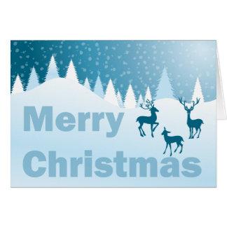 blaue Szene - frohe Weihnachten Karte