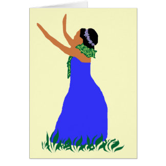 Blaue Tänzerkarte Hawaiis Hula Karte