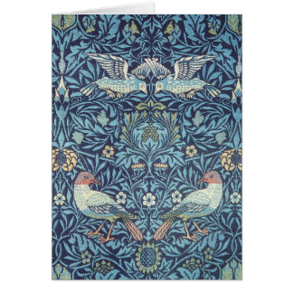 Blaue Tapisserie-Vogel-mit BlumenVintages Williams Karte