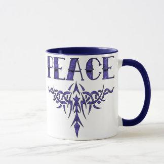 Blaue Tätowierungs-Friedenskunst Tasse