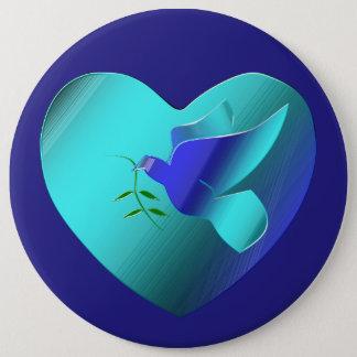 Blaue Taube des Himmel-Herzens Runder Button 15,3 Cm