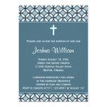 Blaue Taufe/Taufe laden ein (kein Foto) Personalisierte Ankündigungskarte