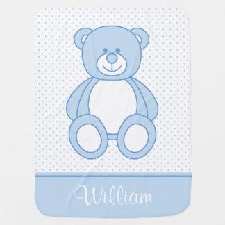 Blaue Teddy-Bärn-personalisierte Baby-Decke Kinderwagendecke