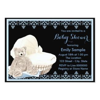 Blaue Teddybär-Babyparty 12,7 X 17,8 Cm Einladungskarte