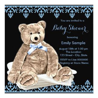 Blaue Teddybär-Babyparty Quadratische 13,3 Cm Einladungskarte