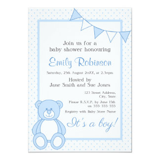 Blaue Teddybär-Duschen-Einladung - Junge 12,7 X 17,8 Cm Einladungskarte