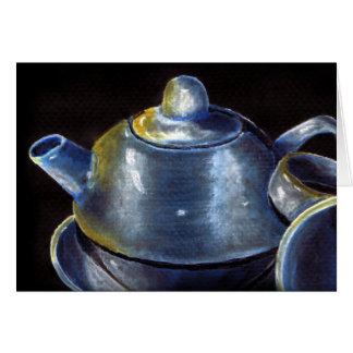 Blaue Tee-Set-Karte (Lori Corbett) Karte