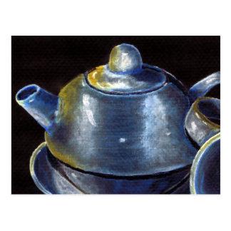 Blaue Tee-Set-Postkarte (Lori Corbett) Postkarte