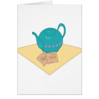 blaue Teekanne und Teebeutel Karte