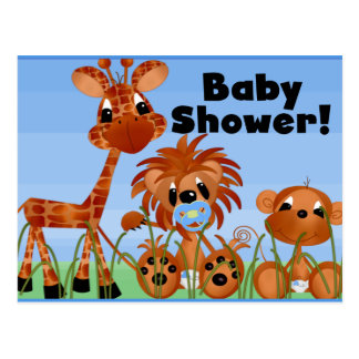 Blaue Tier-Babyparty-Karten und Postkarten