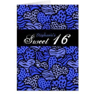 Blaue Tierkarte musterherzen Bonbon-16 Karte