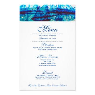 Blaue Tinten-Hochzeits-Abendessen-Menü 14 X 21,6 Cm Flyer