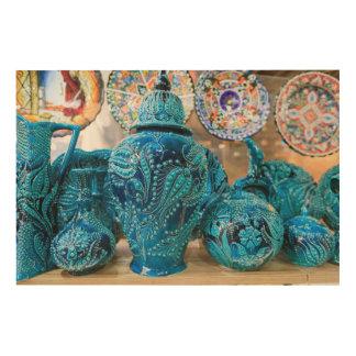 Blaue Tonwaren am Markt Holzleinwand