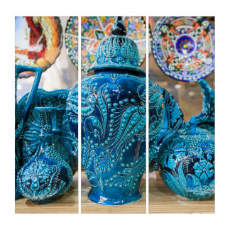 Blaue Tonwaren am Markt Triptychon