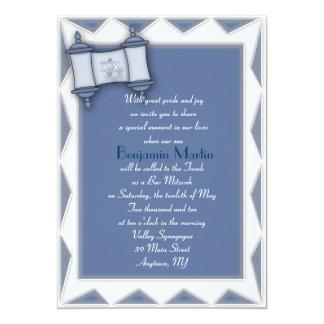 Blaue Torah Bar Mitzvah Einladung