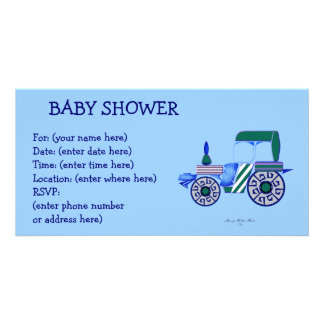 Blaue Traktor-Babyparty Foto Karten