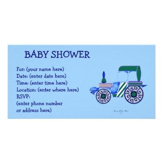 Blaue Traktor-Babyparty Photokartenvorlagen