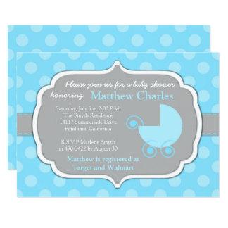 Blaue Tupfen-Baby-Babyparty-Einladung Karte