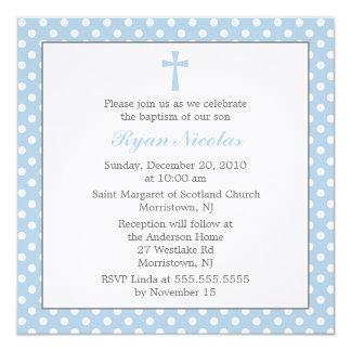 Blaue Tupfen-Taufe Quadratische 13,3 Cm Einladungskarte