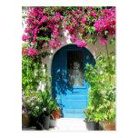 Blaue Tür gerahmt mit schönem Bouganvilla