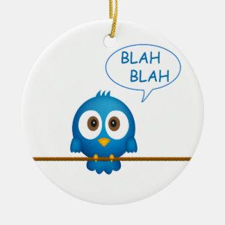 Blaue Twittervogelunterhaltung Keramik Ornament
