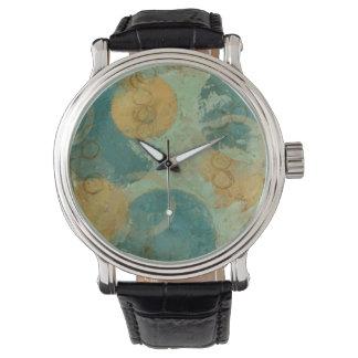 Blaue u. gelbe Kreise Armbanduhr