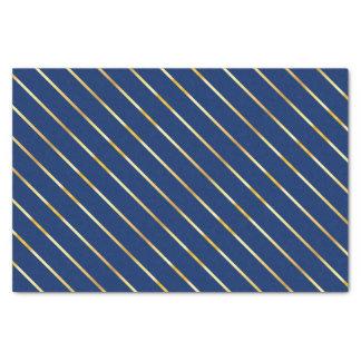 Blaue u. goldene diagonale dünne Streifen Seidenpapier