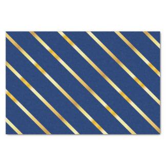 Blaue u. goldene diagonale starke Streifen Seidenpapier